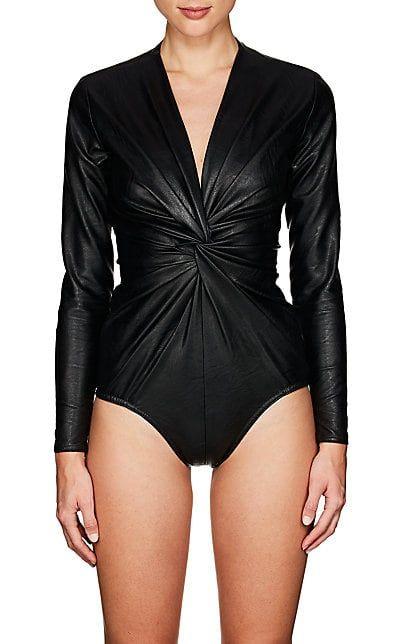 Stella McCartney Faux-Leather Bodysuit - Tops - 505634012