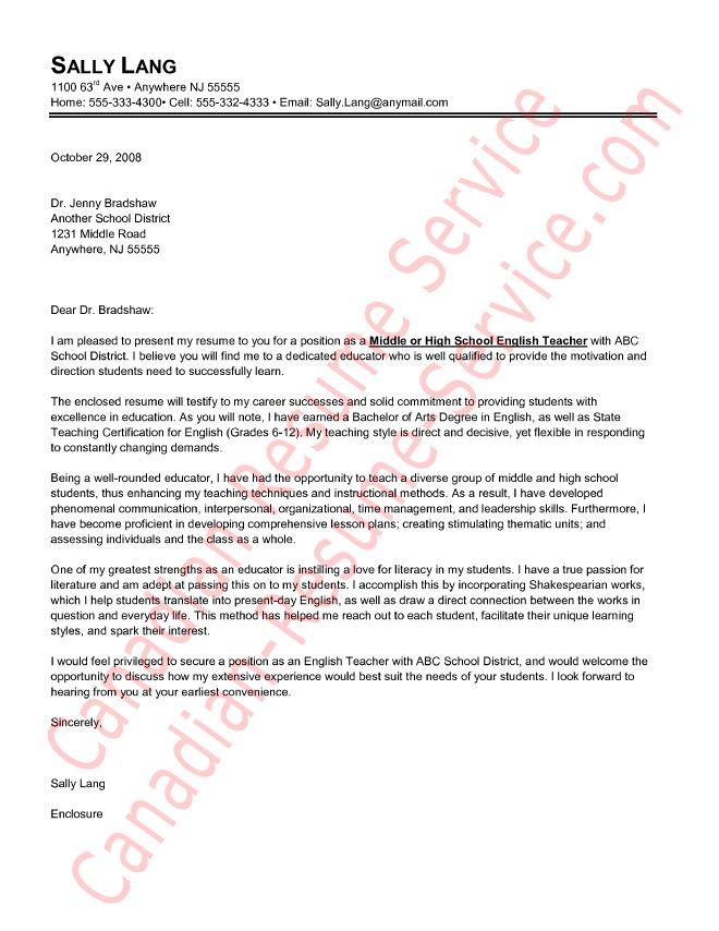 sample cover letter for teachers