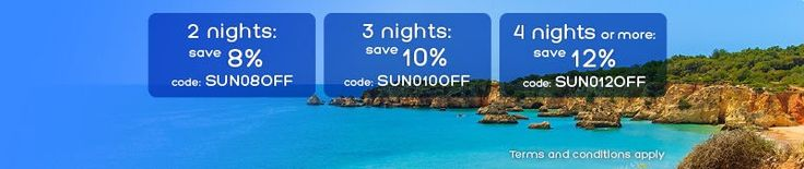 New Offers and Deals: 8-12% Extra off at Hotels.com  Coupon (codes: SUN08OFF SUN010OFF SUN012OFF)  Terms and Conditions: Use this coupon to get 8% off the price of your booking in selected beach destinations at a participating Best Price Guarantee hotel w