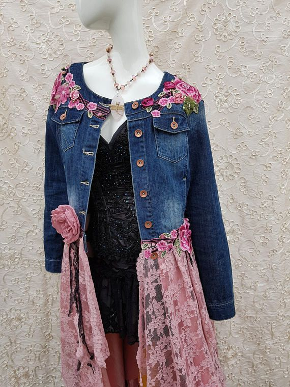 OOAK Boho Upcycled Denim Jacket 12 14 Hippy Stevie Nicks Fairy Eco Couture Lagenlook Bohemian Wearable Art *PINK FAE* I am so proud of these beautiful coats and jackets. Absolutely beautiful upcycled denim jacket. This coat is totally gorgeous. It is extremely pretty and Bohemian