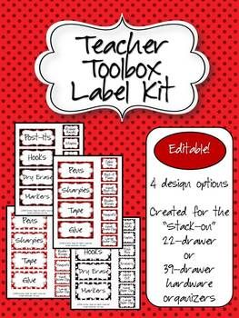 Teacher Toolbox - Black, White, & Red Polka Dots (EDITABLE)