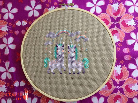 Majestic Unicorns cross stitch pattern PDF download - magical modern cross stitch chart