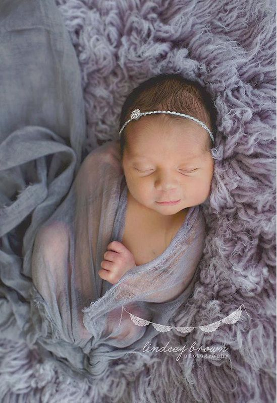 Grey cheesecloth baby wrap set baby headband newborn prop newborn cheesecloth baby