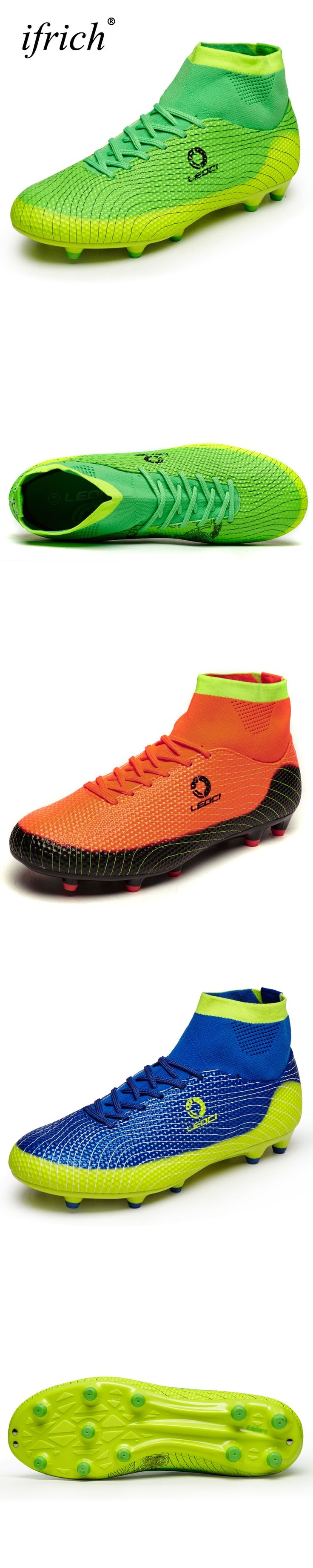 Ifrich New Mens Kids Football Boots With Ankle Soccer Shoes Green Blue Soccer Cleats High Tops Football Trainers Long Spikes