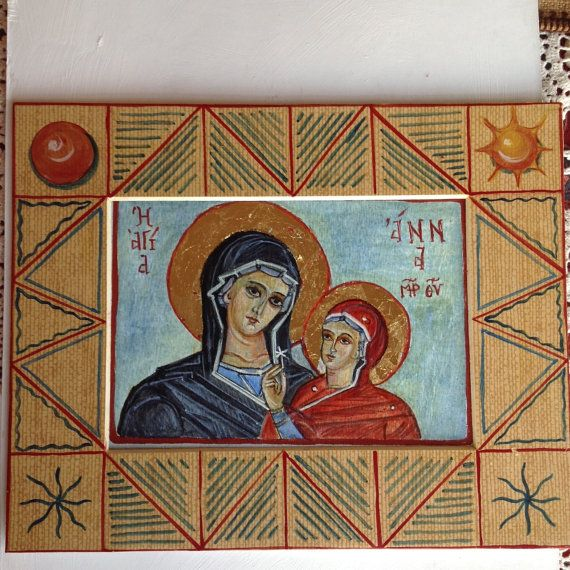 Icon of St. Anne and little Mary. Hand by AtelierVenusDecor