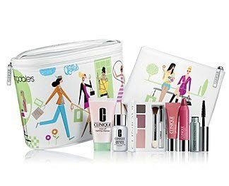Clinique Forgive and Forget Gift Set by Clinique. $34.99. Mascara 01 Black + Bonus Exclusive Cosmetics Bag Set. Gel Blush .24 oz / 7ml + Chubby Stick Moisturizing Lip Colour Balm 07 Super Strawberry. Clinique Exclusive One of a Kind 8 Pcs Travel Set: Promotional Travel Size.. Repairwear Laser Focus Wrinkle & UV Damaged Corrector.5 oz / 15ml. Rinse Off Foaming Cleanser Mousse 1 oz / 30 ml + Colour Surge Eye Shadow Trio Come with Either Chocolate Chip or Chocolate squ...