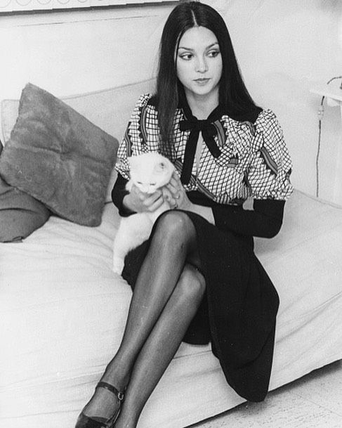 Twenty-year-old Victoria Principal, wearing a Celia Birtwell print Ossie Clark dress, with her pet kitten 'Matza' in her flat in Charlwood Place, London, on December 3rd, 1970.