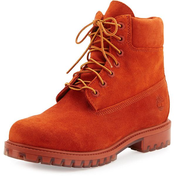 """Timberland Autumn Leaf 6"""" Premium Waterproof Hiking Boot ($210) ❤ liked on Polyvore featuring men's fashion, men's shoes, men's boots, orange, mens orange shoes, timberland mens boots, mens round toe cowboy boots, timberland mens shoes and mens waterproof shoes"""