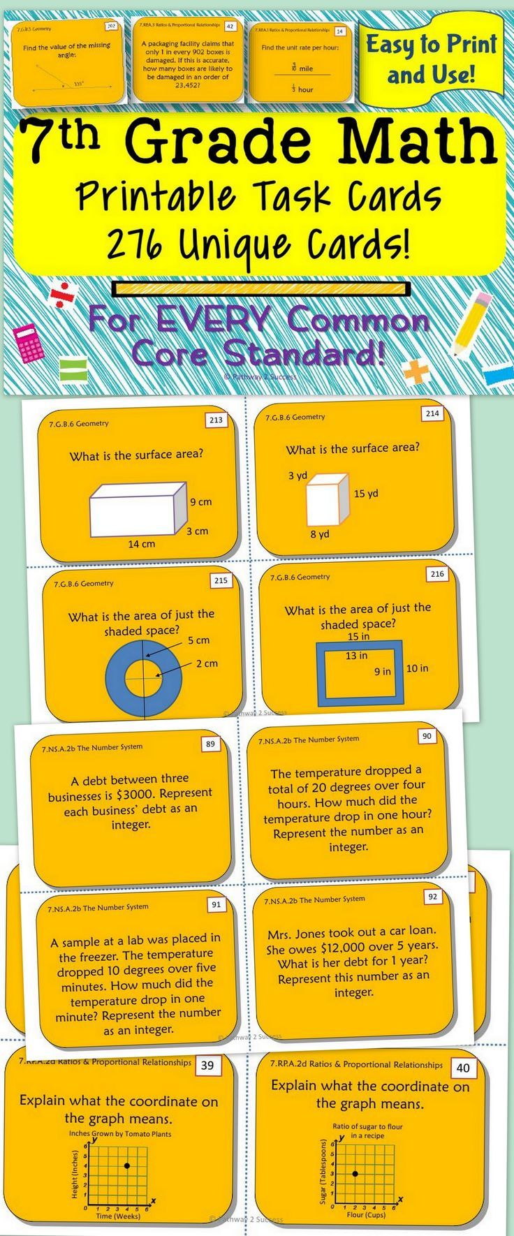 25 best 7th grade math ideas on pinterest 7th grade classroom 7th grade math task cards robcynllc Choice Image