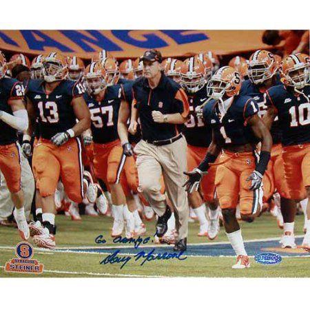 Doug Marrone Syracuse Running on Field with Team Horizontal 8 inch x 10 inch Photo with Go Orange Inscription
