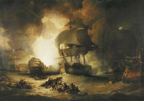 The French Flagship L'Orient explodes at 10 o'clock at night at the height of the battle, effectively ending any chance of the French winning.