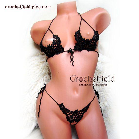 Sexy crochet black BUTTERFLIES open bra thong by Crochetfield