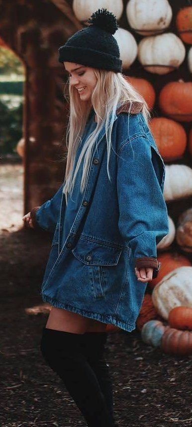 Denim Coat + Black Beanie                                                                             Source