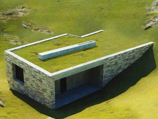 Green Roof blended into landscape