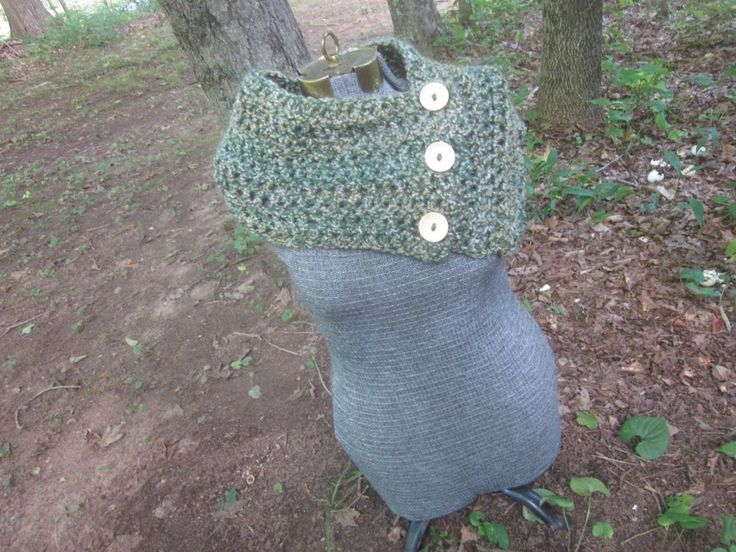Scarf Cowl Boston Harbor Button Bright Green Ivory Gold Aqua Soft Chunky Crochet