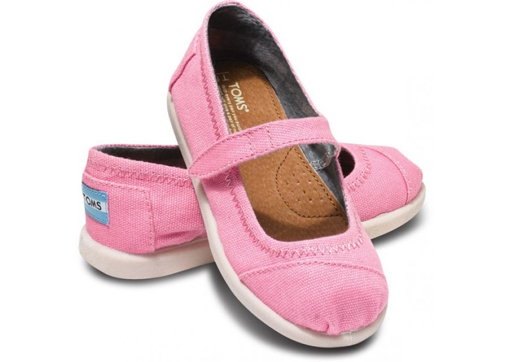 Pink Canvas Tiny TOMS Mary Janes