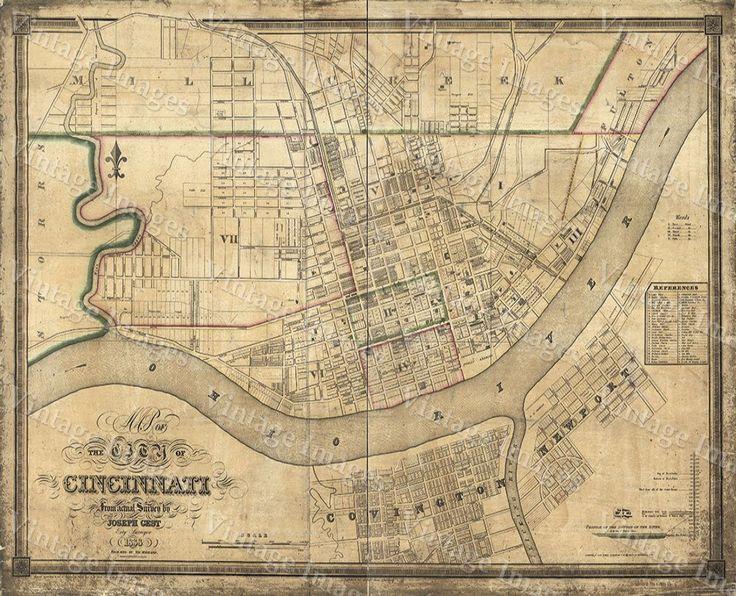 old map of cincinnati historic 1838 cincinnati ohio street map restoration hardware style cincinnati fine art print wall map home decor gift - Home Decor Cincinnati