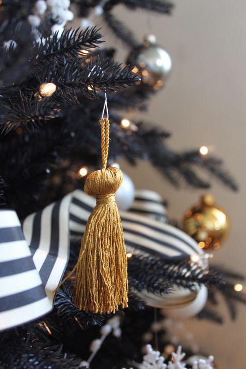 Gold Tassel Ornaments, Black And White Striped Ribbon.how Fun! Via Coco +  Kelley Love The Black Christmas Tree