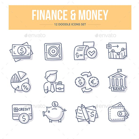 Finance & Money Doodle Icons. Download here: http://graphicriver.net/item/finance-money-doodle-icons/15113115?ref=ksioks
