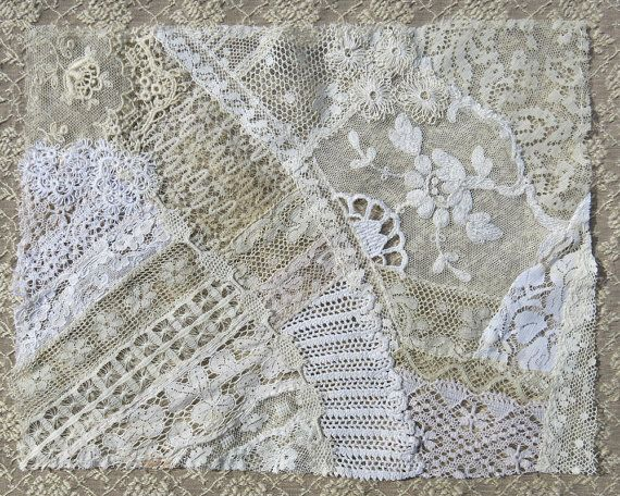 Vintage & Antique Lace Collage, No. 13 ... Embellishment for crazy quilting, heirloom sewing, fabric art, journals, assemblage, multi media
