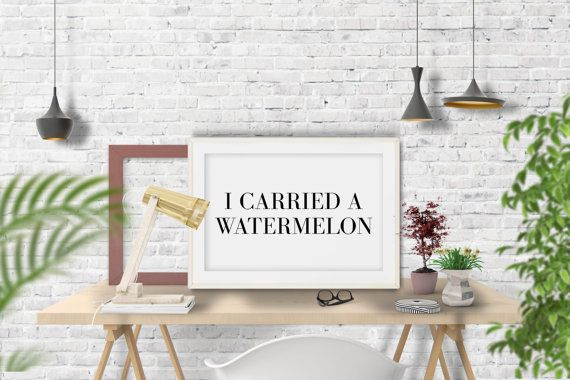I carried a watermelon poster. Instant download. por smukprintables