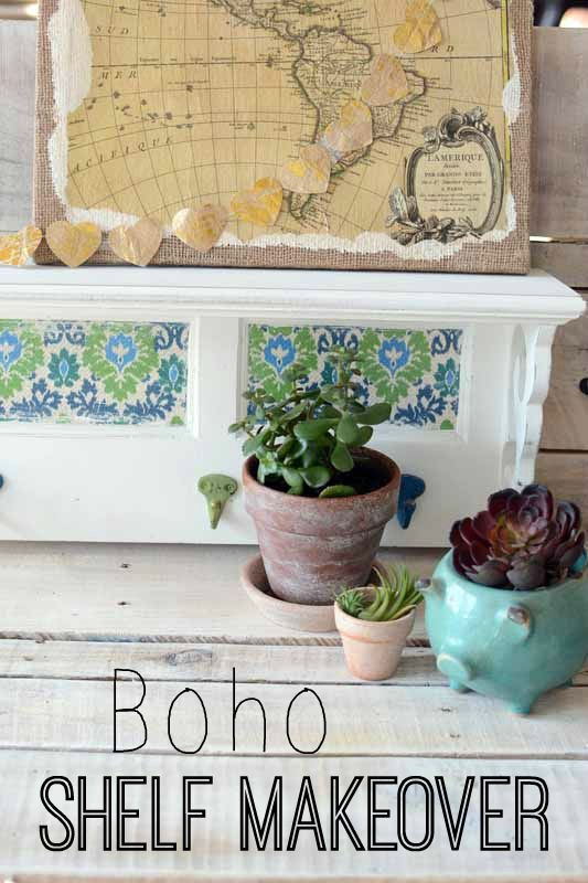 Boho Shelf Makeover - All Things Heart and Home