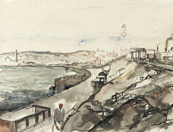 Paul Delvaux (Belgian, 1897-1994), Vue de Statte (Huy) et la Meuse, 1930. Watercolour and Indian ink, 54 x 71.5 cm.