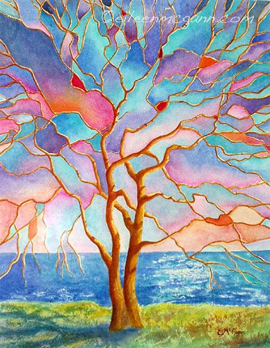 stained glass watercolor tree: Glasses Watercolor, Stained Glasses Projects, Trees Art, Trees Of Life, Watercolor Treeski, Glasses Trees, Watercolour Trees, Life Colors, Colors Inspiration