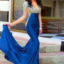 Vestido de Festa 2016 Sparking Sereia Noite Vestido de Cetim Frisada Ver Através Azul Pageant Vestido de Noite Vestido de robe de soirée(China (Mainland))