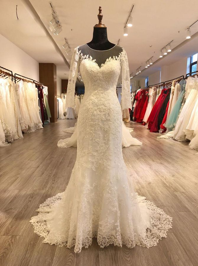 Fit And Flare Wedding Dresses With Sleeves Lace Vintage Wedding