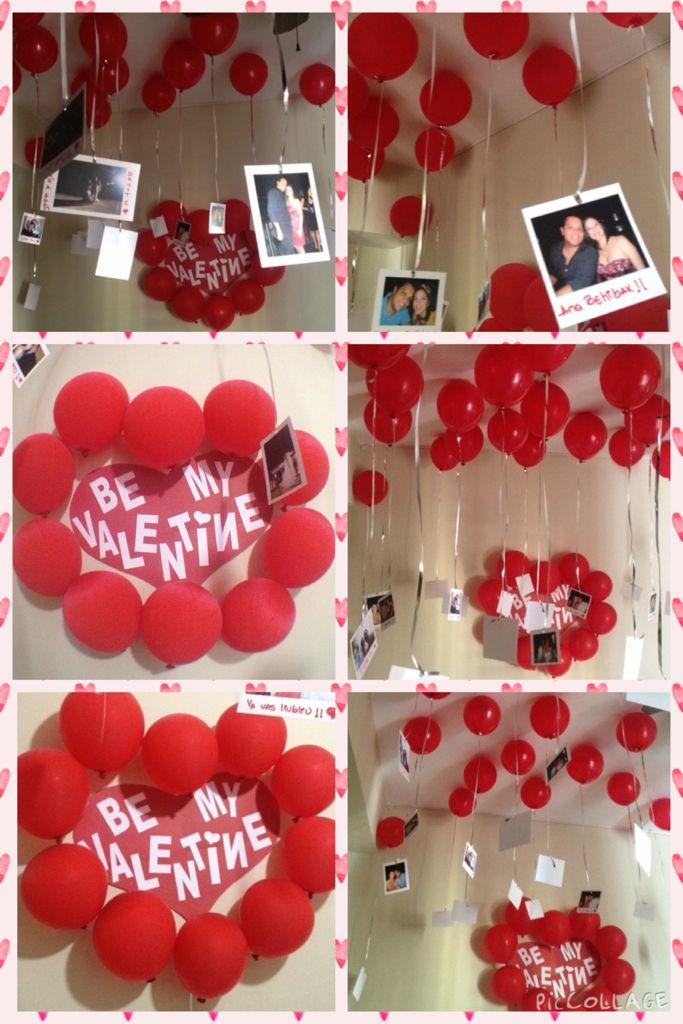 Decoracion San Valentin Tiendas ~ Detalle de San Valentin  Globos pegados al techo del cuarto con