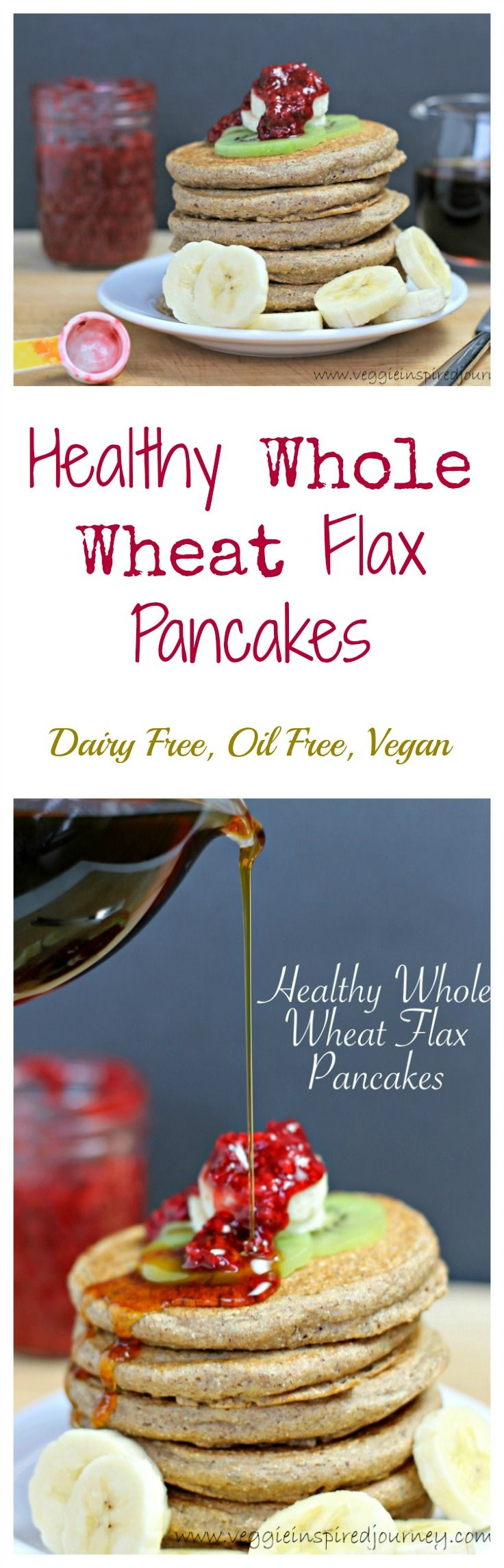 Healthy Whole Wheat Flax Pancakes - Delicious dairy free, oil free and vegan pancakes just begging for a topping of fresh fruit and pure maple syrup. Grab a fork and dig in!