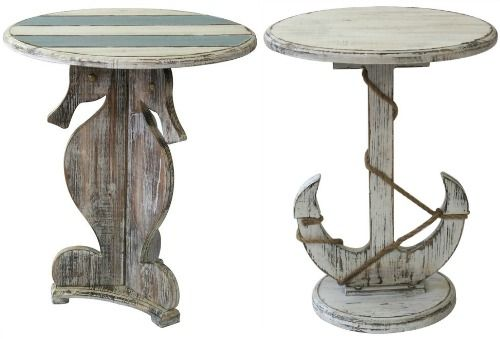 Coastal Accent Tables and Side Tables: http://www.completely-coastal.com/2016/01/coastal-nautical-accent-tables-side-end-tables.html Seahorse Table and Anchor Table