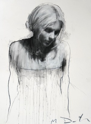 sam looking downwards (pastel & collage) by Mark Demsteader