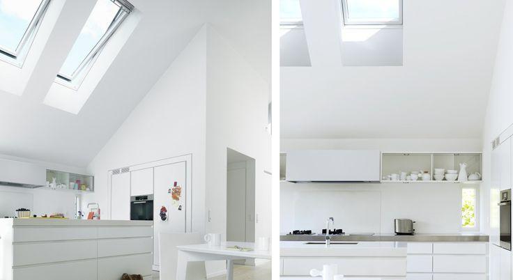 La receta para una gran cocina:  Dos ventanas instaladas en la parte alta del techo llenan la cocina de luz natural y amplían el espacio. No sólo proporcionan la iluminación adecuada para cocinar, sino que además expulsan el vapor, el humo y los olores de cocina de la casa. Estas ventanas para techo VELUX INTEGRA®, que están fuera del alcance, pueden abrirse y cerrarse con un práctico panel de control. http://www.velux.com.ar/inspiracion/galer%C3%ADa-de-ambientes/cocina