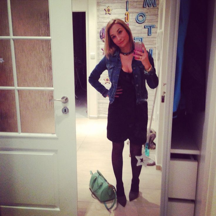 Party outfit #zara dress and shoes #pepejeans jeans jacket