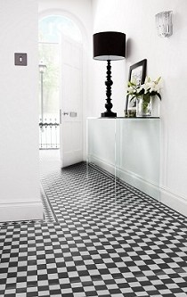 Victorian inspired mosaic chequer for bathroom (Topps Tiles)