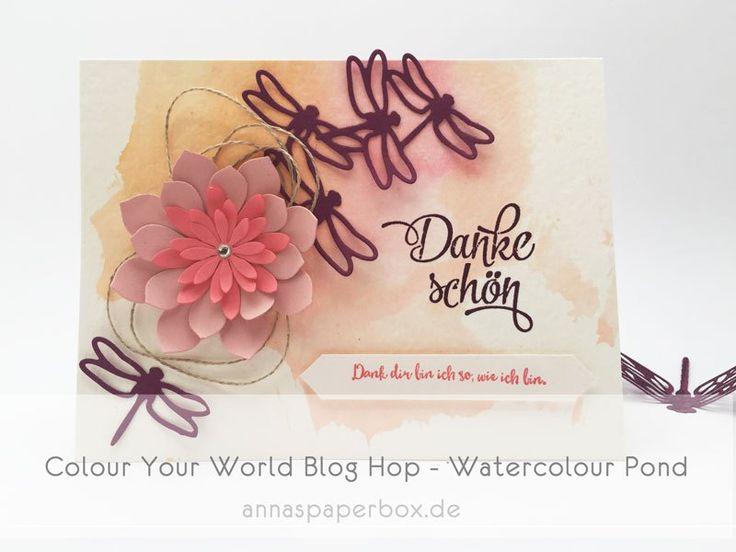 Colour Your World Blog Hop - Watercolour Pond - anna's paperbox