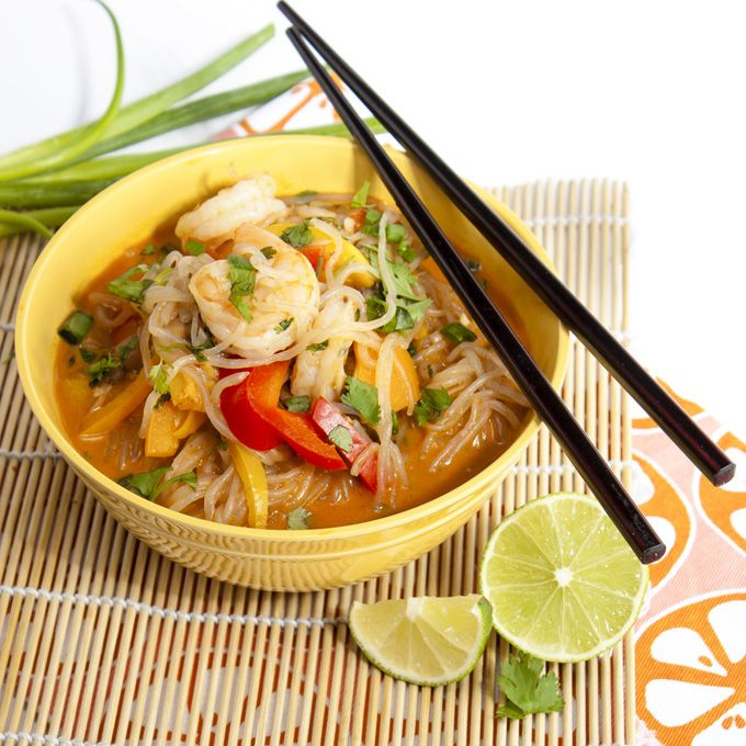 Miracle Noodle Shrimp and Vegetable Coconut Curry ~ It's hard to believe that this giant bowl of creamy curry noodles clocks in at under 300 calories. The secret is shirataki noodles, noodles made from the konjac yam that are gluten-free, vegan, fat-free, and calorie-free. They absorb the flavor of whatever sauce they're served with and work beautifully with any Asian-influenced recipes