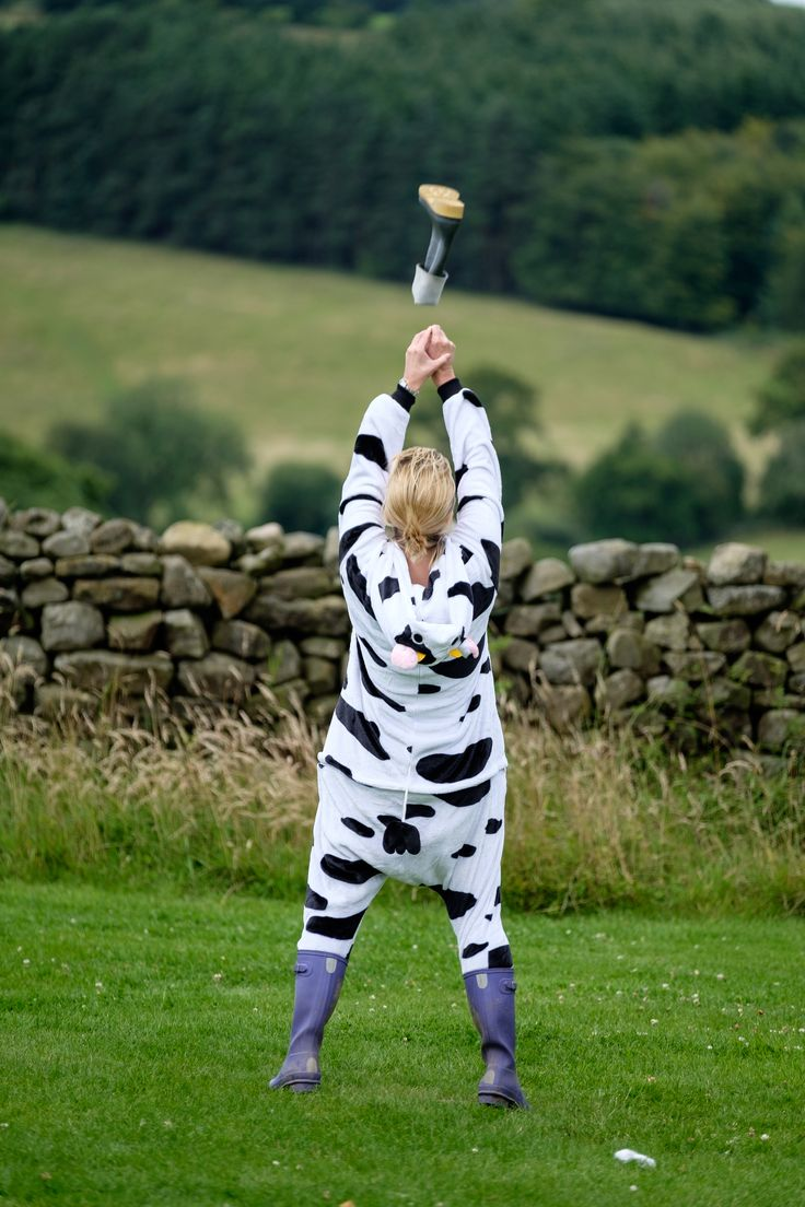 Unique hen do idea or what! Give it some welly! Welly wanging in a cow onesie...who knew ;)