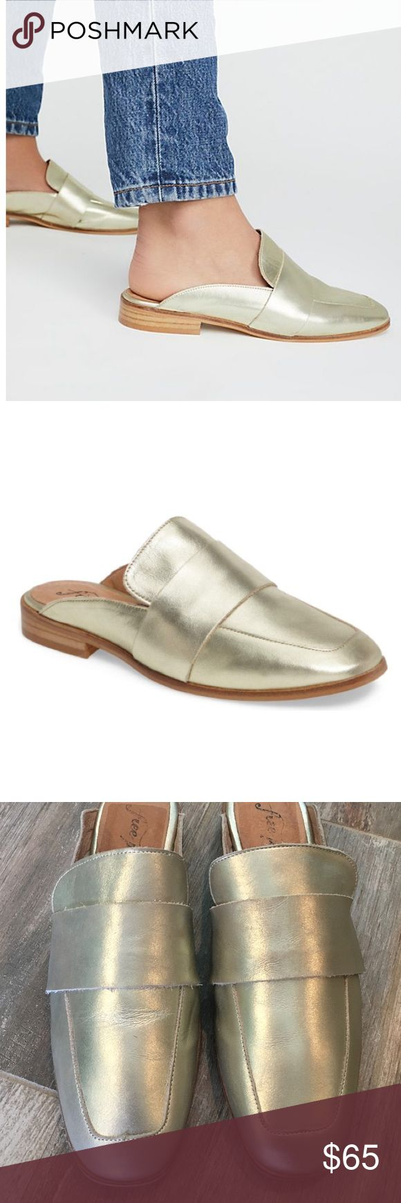 "NWOT Free people loafer Light gold slip on ""at ease"" loafer.  New never worn.  Tried on in store and in my posh room only. These are a 38 and fit like a 7-7.5. Free People Shoes Flats & Loafers"