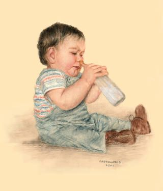 Baby Trying to Drink Milk To purchase reproduction, go to: http://fineartamerica.com/featured/baby-tries-to-drink-milk-sylvia-castellanos.html