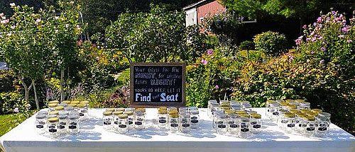Wedding Chalkboard Sign - Seating Chart Mason Jar Display