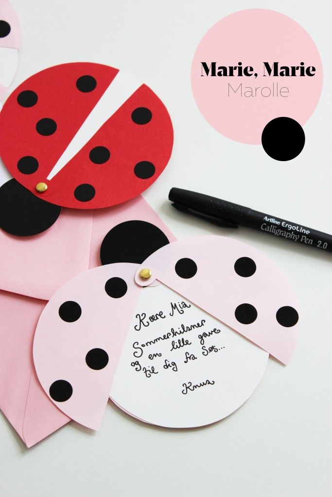 Ladybug cards (paper, brads, and circle stickers)