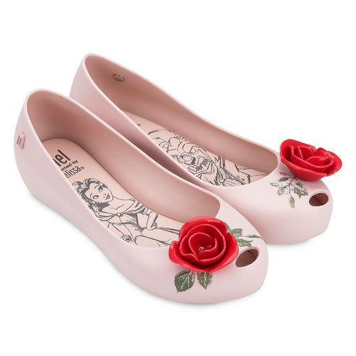 Add elegance to your outfit with Belle's Enchanted Rose! These Melissa flats have a bubble gum scent and sketches of the Beauty and the Beast on each insole.