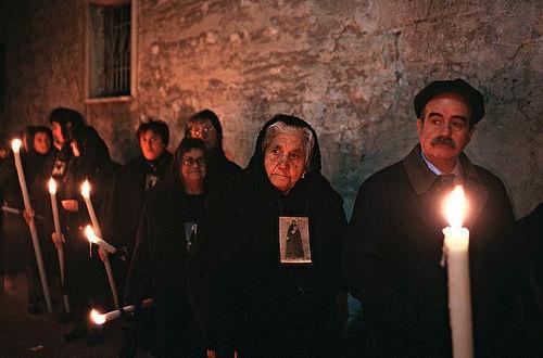 """Devotees of the """"Adolorata"""" Madonna - Processione dei Misteri, Trapani, Sicily"""