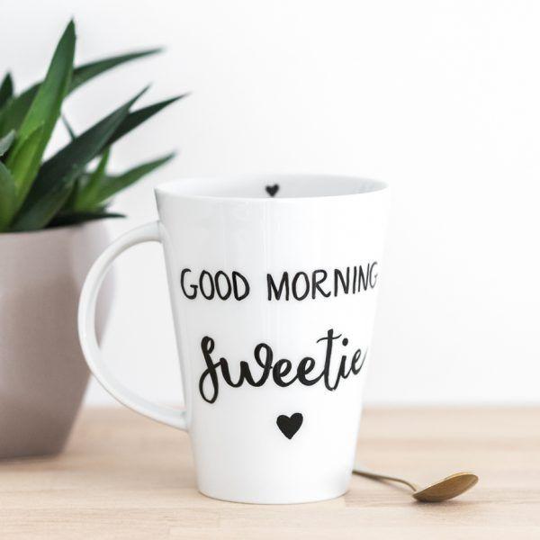 INDIVIDUALISIERBAR • Porzellantasse mit süßem Spruch 'good morning sweetie' • Onlineshop www.prettypott.de #tasse #geschenk