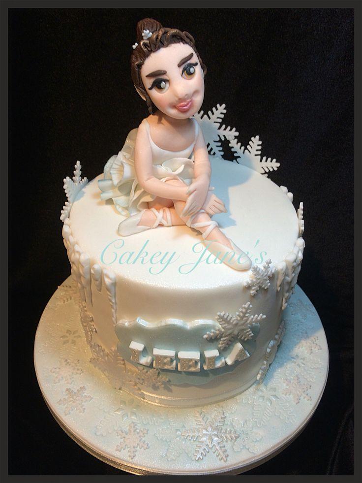 "Ballerina & Ice themed birthday cake 6""4-layer to serve 15"