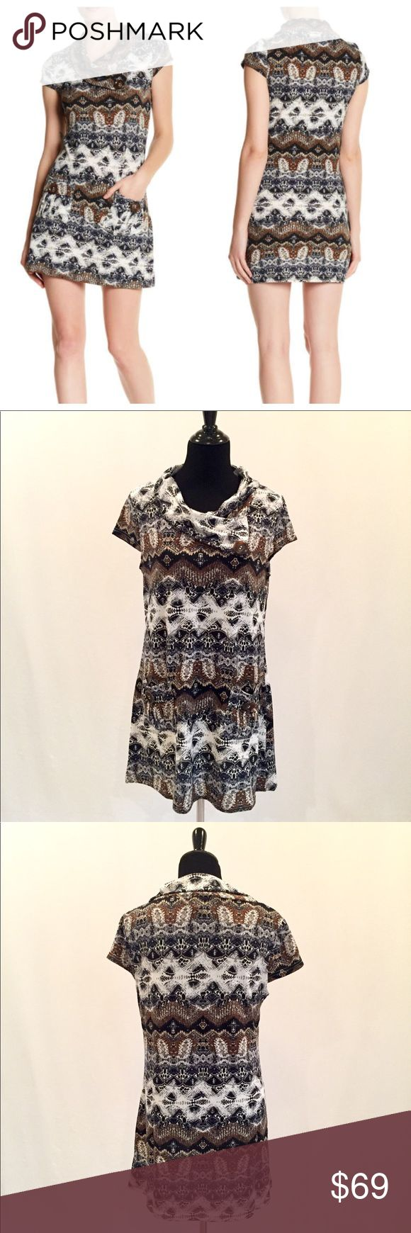 Papillon Foldover Collar Jersey Mini Dress - Tunic New With Tags- mixed print stretch mini dress or tunic with foldover collar, cap sleeves and 2 patch pockets with button accents. 95% Polyester, 5% Elastane. Papillon Dresses Mini