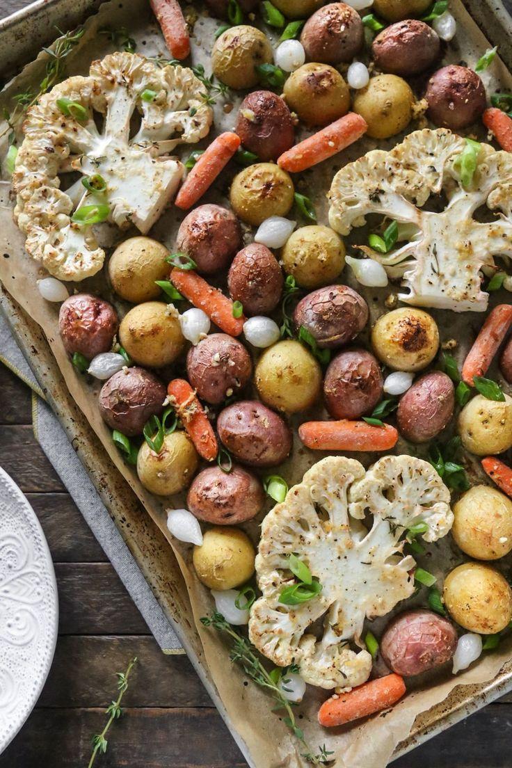 One-Pan Lemon Pepper Cauliflower Steaks + Roasted Vegetables | Gluten-Free, Vegan, Oil-Free | The Plant Philosophy